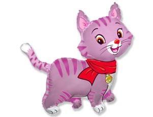 Кошечка с шарфом розовая