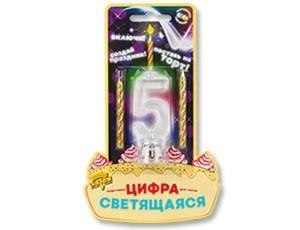 Цифра LED «5» для торта+2 свечи